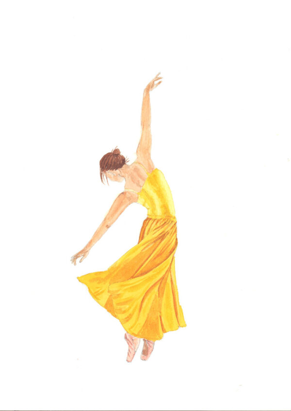 Ballerina Painting in Yellow